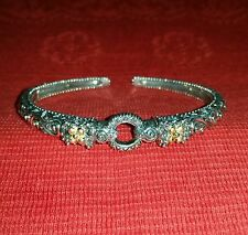 "BARBARA BIXBY 18K GOLD LOTUS 925 STERLING CUFF BRACELET 8"" RETIRED QVC"