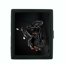 Motorcycle D7 Regular Black Cigarette Case / Metal Wallet Bike Racing Crusing