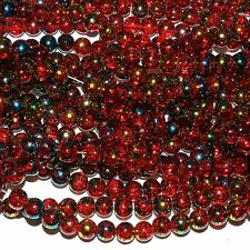 GX1496 10-Strand Red 8mm Round Metallic Drawbench Swirl Crackle Glass 1000 Beads