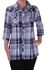 Womens Casual Checkered Collared 3/4 Sleeve Blouse Check Ladeis Shirt Tops