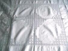"Vintage White Irish Linen Tablecloth - Drawn Threadwork 68"" x 76""  Reduced Price"