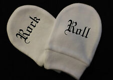 BABY BOY GIRL GOTH Rock & Roll MITTS  WHITE COTTON SCRATCH MITTENS NEWBORN