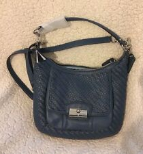 NWT Coach Kristin Hobo Woven Leather Denim Blue Silver shoulder cross body bag