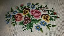 """VtgPreworked Needlepoint Canvas Tapestry Beautiful Floral 18"""" x 26"""" Scovill"""