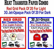 "HEAT TRANSFER PAPER RED GRID FOR LIGHT 3G JET OPAQUE FOR DARK PK OF 20ea 8.5""X11"