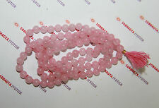ENERGIZED ROSE QUARTZ CRYSTAL MALA / Rosary 6MM 108 + 1 BEADS TOP QUALITY