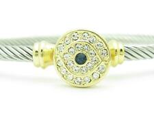 18kt Yellow Gold Plated Stainless Steel Evil Eye Kabbalah Cable Bangle Bracelet