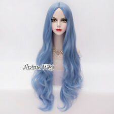 80CM Sky Blue Long Wavy Lolita Anime Cosplay Party Heat Resistant Full Wig