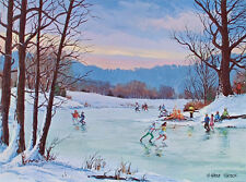 Vintage ICE SKATING Art Print W. HAROLD HANCOCK Skaters on Frozen Pond 8.5x11.5