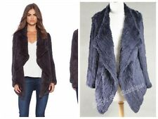 NEW ARRIVAL! RABBIT FUR WATERFALL LONG SLEEVE JACKET NAVY LONG VERSION S M L