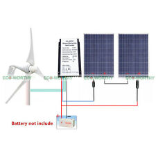 24V Kit 400W Max Power Wind Generator+Charge Controller with 2x 100W Solar Panel