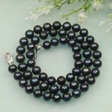 AA 7-8mm Black Cultured Fresh Water Akoya Pearl Necklace 18''
