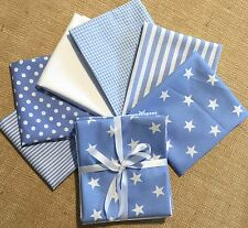 6 FQ bundle baby PALE BLUE white stars stripes spots cotton - patchwork bunting