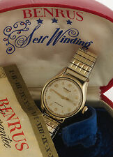 RETRO 17 JEWEL BENRUS AUTOMATIC WIND WATCH CA1950S W/BOX AND PAPERS