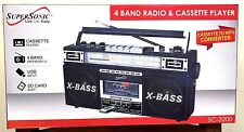 BRAND NEW SuperSonic SC‑3200 Retro 4‑Band Radio and Cassette Player Black