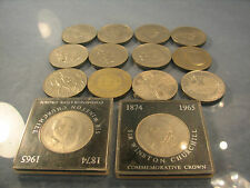 Fourteen crowns coins of Elizabeth II including churchill crowns