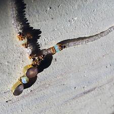 1  facett. unikat rosenquarz äthiopien opal kette kette, 925 silber vergoldet