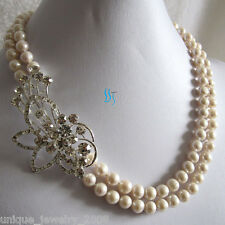 """18-19"""" 6-8mm White 2Row Freshwater Pearl Necklace A Jewelry"""