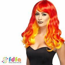 OMBRE RED FIRE FLAME SUPER HERO DEVIL WIG HALLOWEEN - womens ladies fancy dress