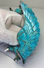 """ORIGINAL HARRY SPENCER Sterling Silver 6"""" Wing Span Turquoise Eagle Necklace 17"""""""