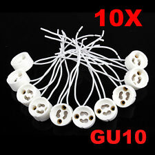 10Pcs GU10 Socket Holder Ceramic Bulb Halogen Lamp Wire Connector Holder Base #w