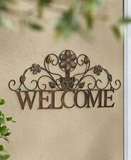 Scrolled Metal Rustic Welcome Wall Plaque Outdoor Greeting Porch Bronzetone Sign