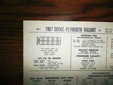 1967 Dodge Plymouth Valiant EIGHT Series Models 273 CI V8 2BBL Tune Up Chart