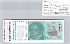 7 BILLETS ARGENTINE - 1-5-10-50-100-500-1000 AUSTRALES (1985) - NEUFS