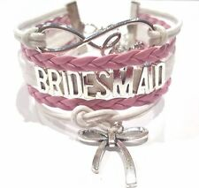 Rope Braided Infinity Love Brides Maid Bracelet w Ribbon charm Pink & White
