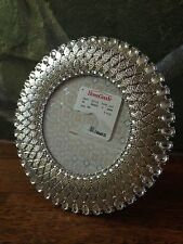 "GORGEOUS 6"" SILVER METAL ROUND PHOTO PICTURE FRAME WITH CLEAR RHINESTONE JEWELS"