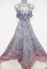 BNWT Warehouse Floral Paisley Print Hankerchief Maxi Day Evening Dress Size 8