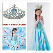 Baby Girls Kids Elsa Cosplay Costume Party Dresses Skirt+Free Crown Clothes 3-4Y