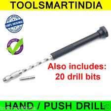 PCB Hand Drill + Collet + 20 Drill Bits (0.8mm & 1.0 mm )