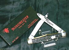 Winchester 2967 Bone Stag Knife Swell Center Muskrat Trapper W/Original Package