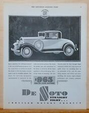 1930 magazine ad for De Soto Straight Eight - built by Chrysler, Something Finer