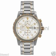 Fossil Original FS4795 Men's Dean Silver and Gold Accents Chrono Watch 45mm