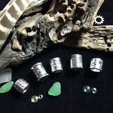 5x Silver Tone Dreadlock Beads Celtic Viking Beard Rings Chunky 8-11mm Hole LOTR