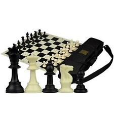 Tournament Roll-Up Staunton Chess Set w/ Travel Canvas Bag - Black New