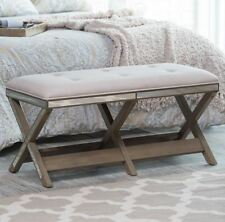 Upholstered Bench End Of Bed Mirrored Accents Seat Furniture Wood Hallway NEW