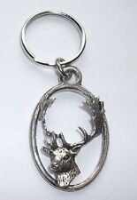 FALLOW DEER PEWTER KEY RING, ideal for Keys, Bags, Collectables (XTSBKKA63)