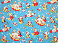 Retro Rocket Rascals Vintage Spaceships Michael Miller BY YARDS Cotton Fabric