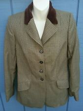 Vintage HARRY HALL UK SZ 6/8? Hunt Coat Hacking Jacket Brown & Olive Houndstooth