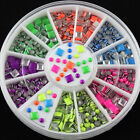 2 Styles 6 Colors 3D Neon Stud Rhinestone H2L3 Nail Art DIY Decoration wheels