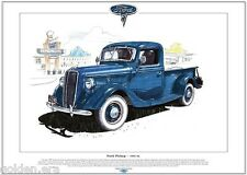 FORD V-8 PICKUP (1935-36) - Fine Art Print - A3 size - In blue + whitewall tyres