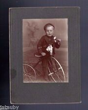 CABINET PHOTO LITTLE BOY TRICYCLE Trike Flower Vase Rose plant stand antique