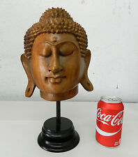 Hand Carved Wood Buddha Sukhothai Style Head Statue Asian Figure Decoration #3