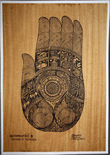 Thai traditional art of Hand Of The Buddha by printing on sepia paper_8