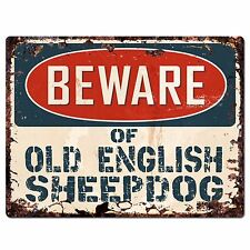 PPDG0038 Beware of OLD ENGLISH SHEEPDOG Plate Rustic Chic Sign Decor Gift