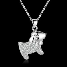 Girls 925 Sterling Silver Filled Cute Puppy Dog Pendant Necklace With Zircon