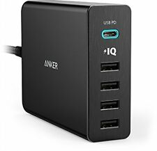 USB Type-C, Anker Premium 5-Port 60W USB Wall Charger PowerPort+ 5 USB-C With /